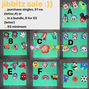 Jibbitz / Croc Charms, 6 for $5